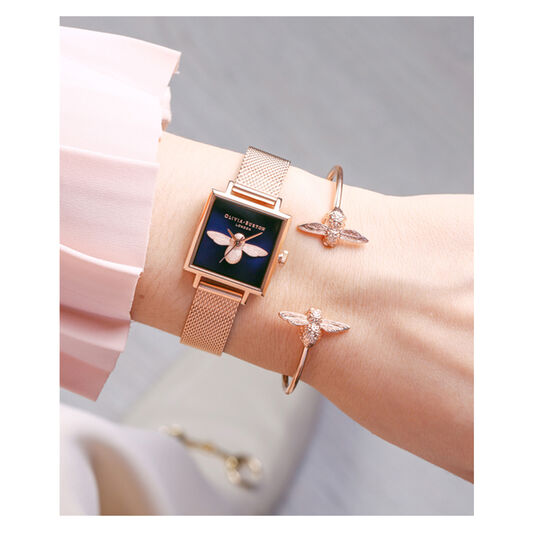 3D Bee Open End Bangle Rose Gold