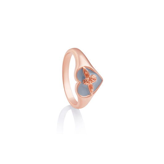Love Bug Signet Ring Gray & Rose Gold S