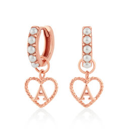 'A' Faux Pearl Heart Initial Huggie Hoop Rose Gold