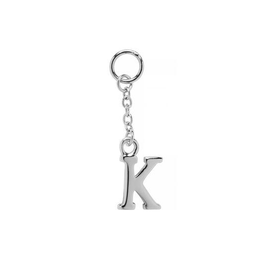 K Alphabet Huggie Charm Silver
