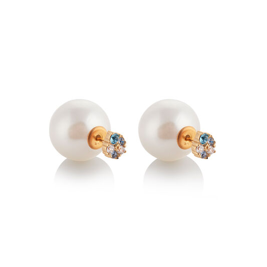 Under The Sea White Pearl Back Earrings Gold