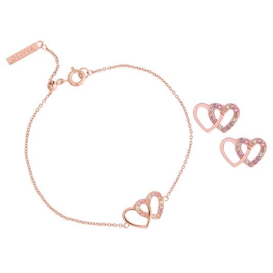 Classics Interlink Heart Rose Gold Bracelet & Studs Gift Set
