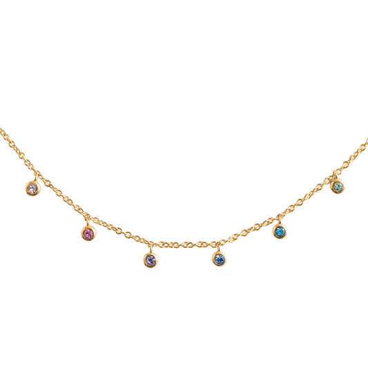 Rainbow Crystal Gold Choker Necklace