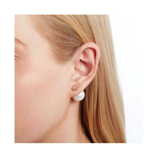 Under The Sea White Pearl Back Earrings Rose Gold