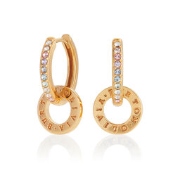 Bejewelled Classics Rainbow Interlink Huggie Hoops Gold