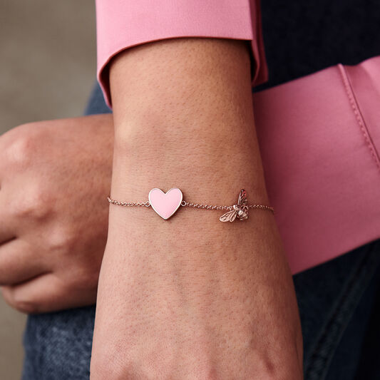 You Have My Heart Pink and Rose Gold Bee Chain Bracelet