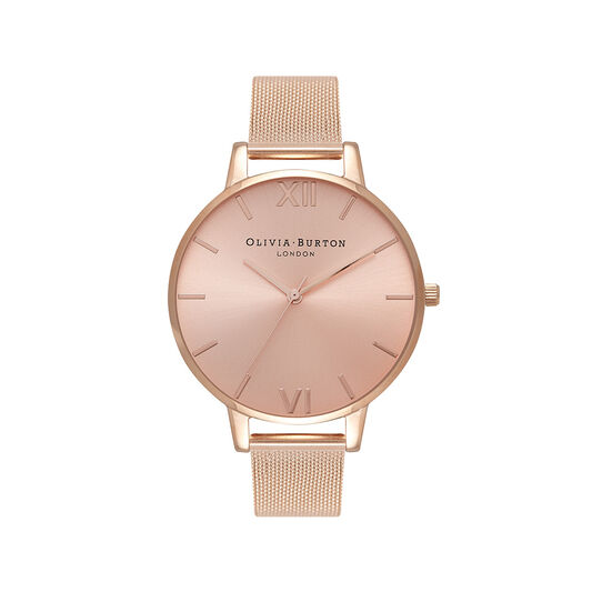 Big Dial Rose Gold Sunray Mesh Watch