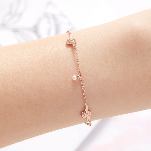 Pearl Bee Chain Bracelet Rose Gold