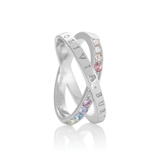 Bejewelled Classics Rainbow Interlink Ring Silver (M)