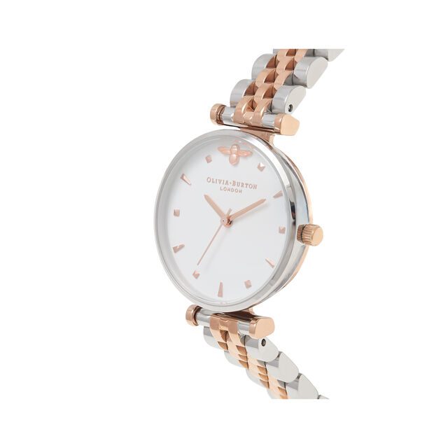 T-Bar Bracelet Silver & Rose Gold Watch