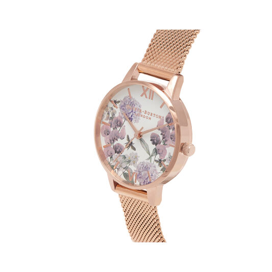 Midi Enchanted Garden Bee Blooms Rose Gold Mesh Watch