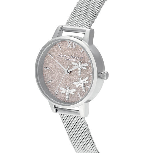 Dancing Dragonfly Blush Glitter Dial & Silver Mesh