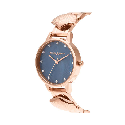 Mermaid Watch Rose Gold & Navy Mother of Pearl