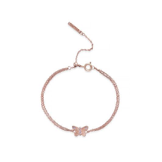 Bejewelled Butterfly Chain Bracelet Rose Gold & Rose Quartz
