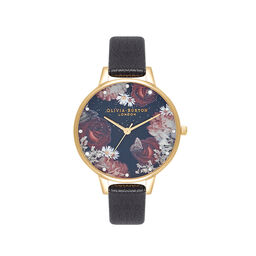Winter Blooms Demi Black & Gold Watch