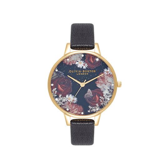 Winter Blooms Demi Black & Gold Watch