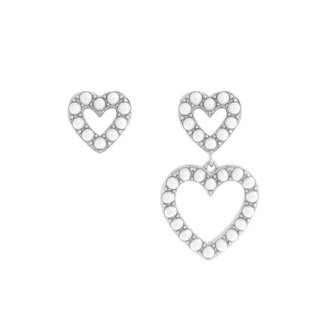 Classic Pearl Heart Mismatch Silver Earrings