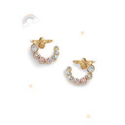 Rainbow Bee Swirl Hoop Earrings Gold