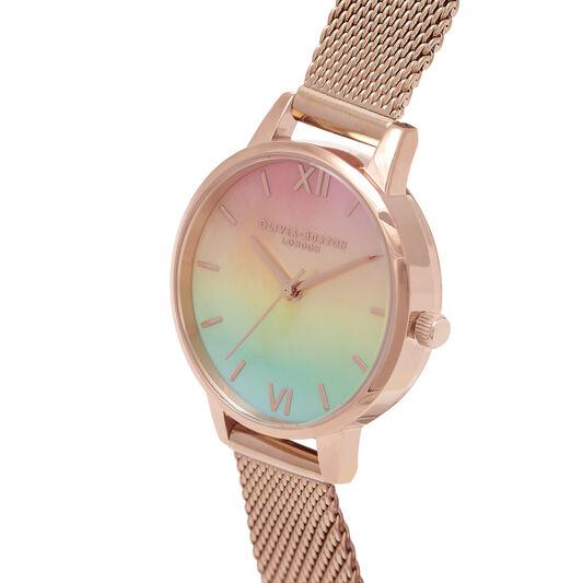 Midi Rainbow Pearl Dial Rose Gold Mesh Watch