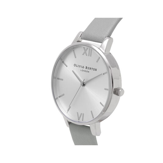Big Dial Grey And Silver Watch