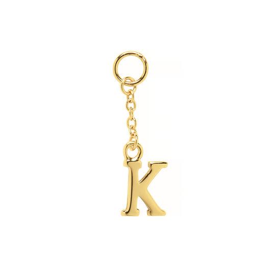 K Alphabet Huggie Charm Gold