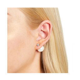 Under The Sea White Pearl Back Earrings Silver