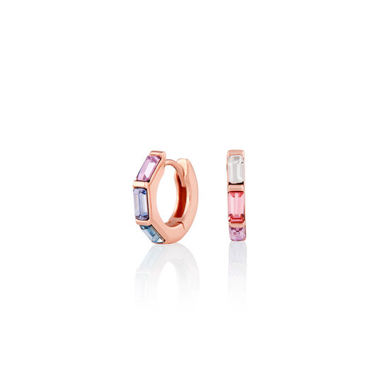 Rainbow Huggie Hoop Rose Gold