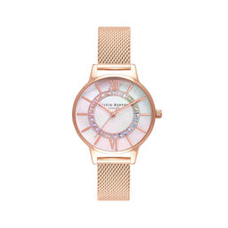Rainbow Sparkle Wonderland Rose Gold Mesh Watch