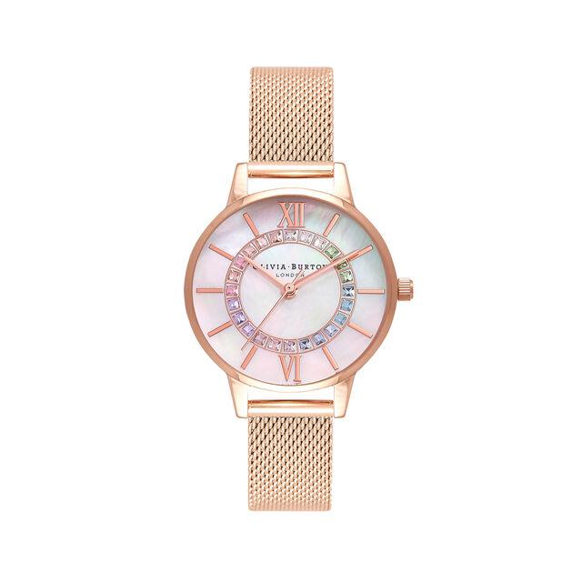Rainbow Sparkle Wonderland Rose Gold Mesh Watch