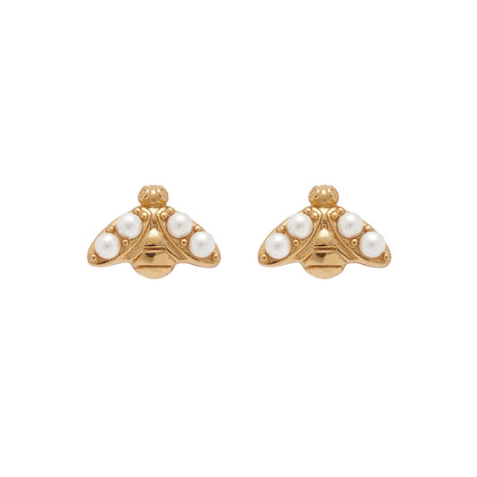 Pearl Bee Gold Stud Earrings