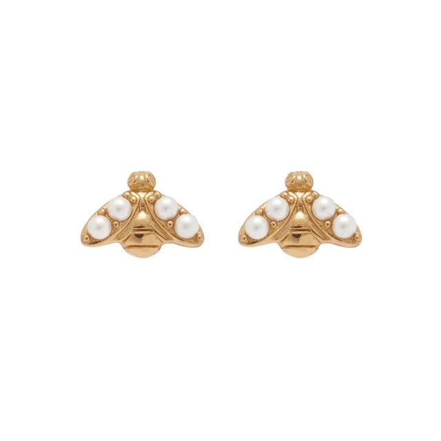 Pearl Bee Gold Stud Earrings