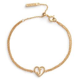 'J' Heart Initial Chain Bracelet Gold