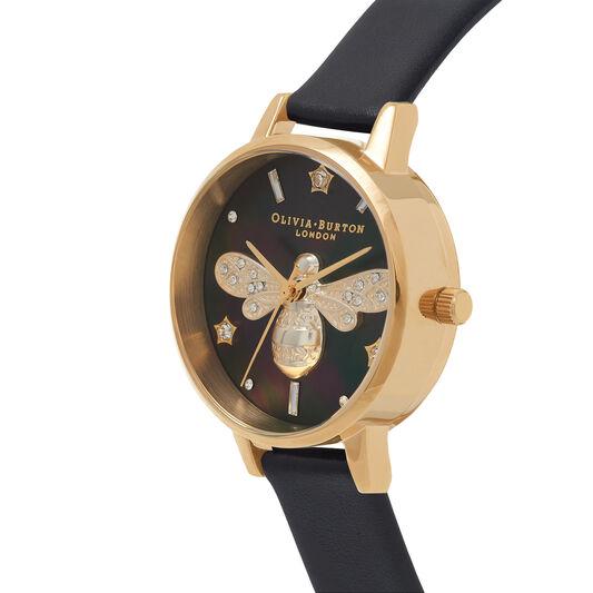 Sparkle Bee Black & Gold Watch