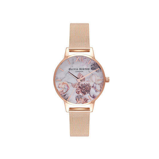 Marble Floral Rose Gold Mesh Watch