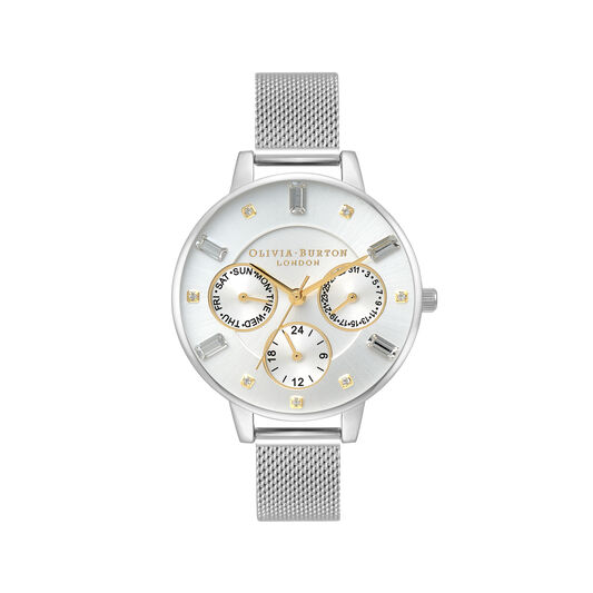 Multi Function Demi Dial Gold & Silver Mesh Watch