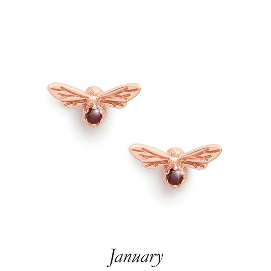 Celebration Stones Celebration Bee Studs Rose Gold & Garnet (January)