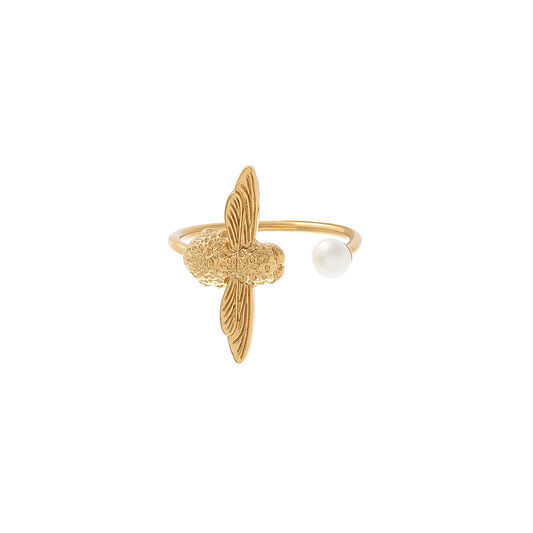 Pearl Bee Ring Gold