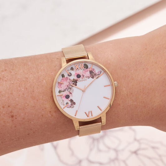 Signature Floral Rose Gold Mesh Watch