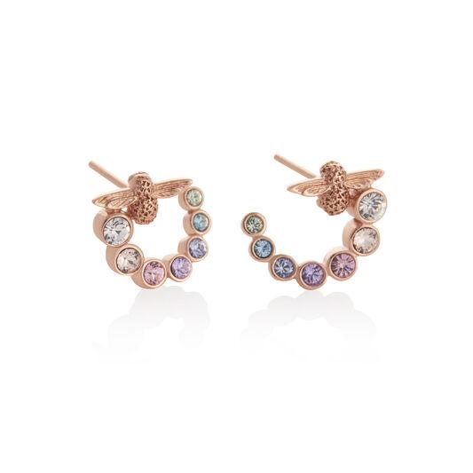 Rainbow Bee Swirl Hoop Earrings Rose Gold