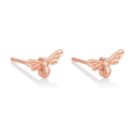 Lucky Bee Stud Earrings Rose Gold