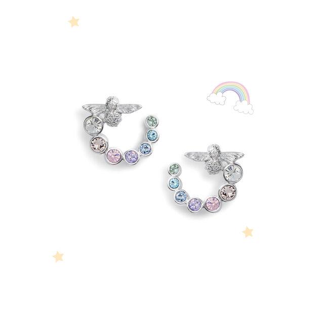Rainbow Bee Swirl Hoop Earrings Silver