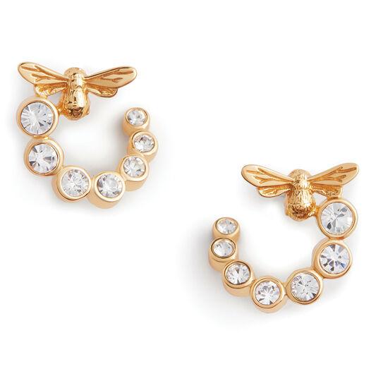 Bejewelled Bee Swirl Hoop Earrings Gold
