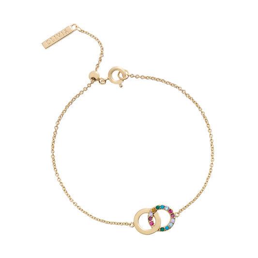 Jewel Rainbow Interlink Gold Bracelet