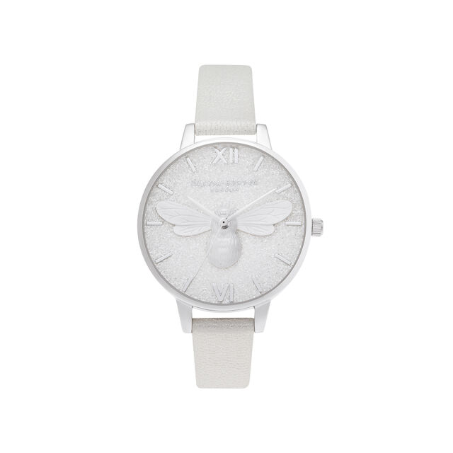Glitter Demi Dial Pearl Bee Shimmer Pearl & Silver Watch
