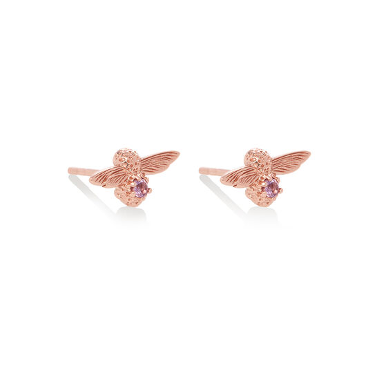 Celebration Bee Studs Rose Gold & Amethyst