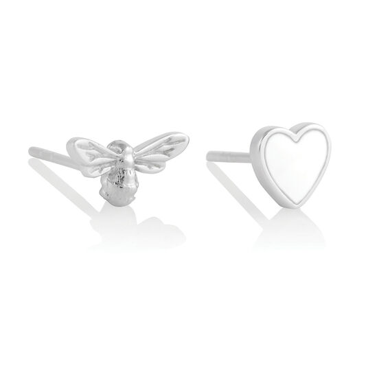 You Have My Heart Studs White & Silver