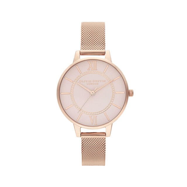 Wonderland Blush and Rose Gold Mesh Watch