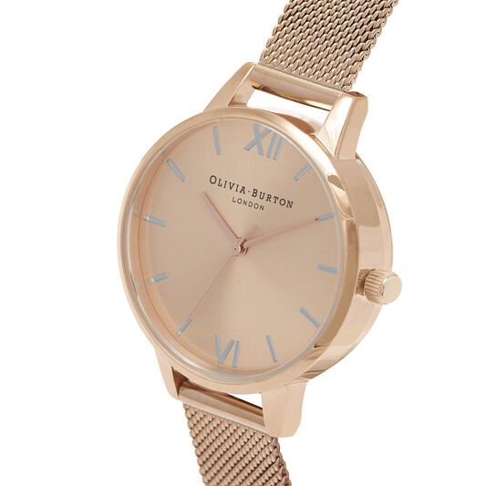Demi Dial Thin Case Pale Rose Gold Mesh Watch