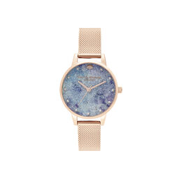 Deep Sea Midi Dial Faux Pearl Markers Rose Gold Mesh Watch