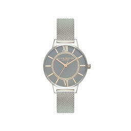 Wonderland Grey Dial Pale Rose Gold & Silver Mesh